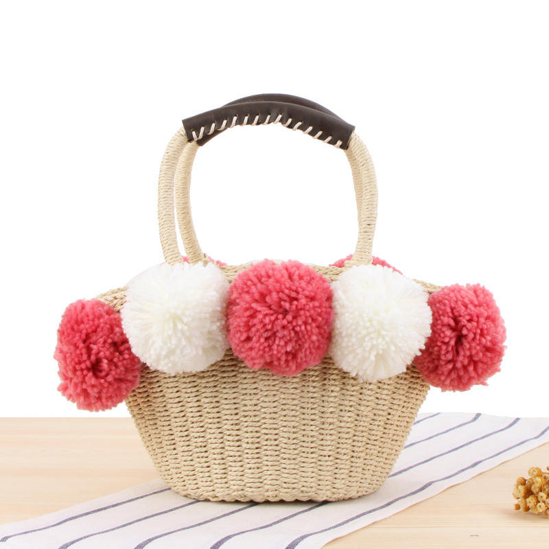 RKY0446 hair ball straw shopping bag newest style portable natural summer straw beach bag