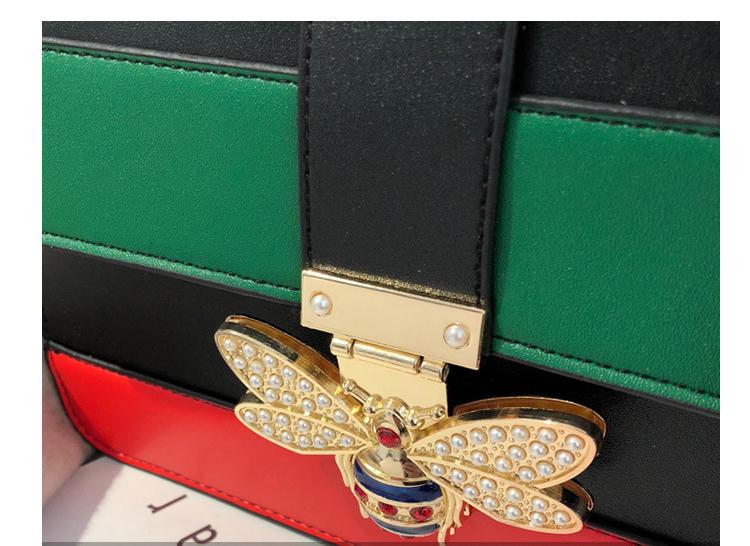 RKY0670 Angedanlia 3 colors trendy lady crossbody bag bee accessories pu square handbag with semi circle wood handle