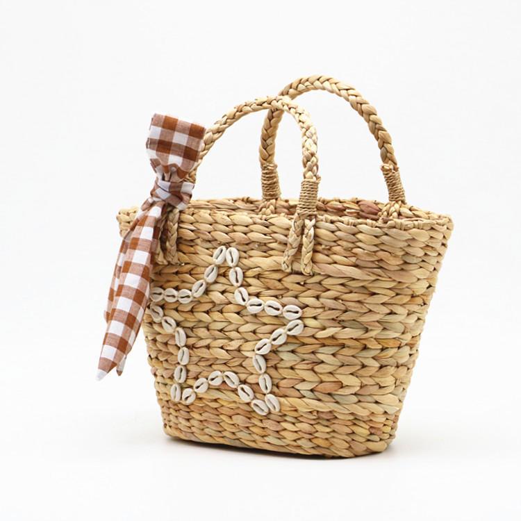 RKY0730 New summer style shell star gourd grass woven bag woven pp beach bag straw rattan tote bag