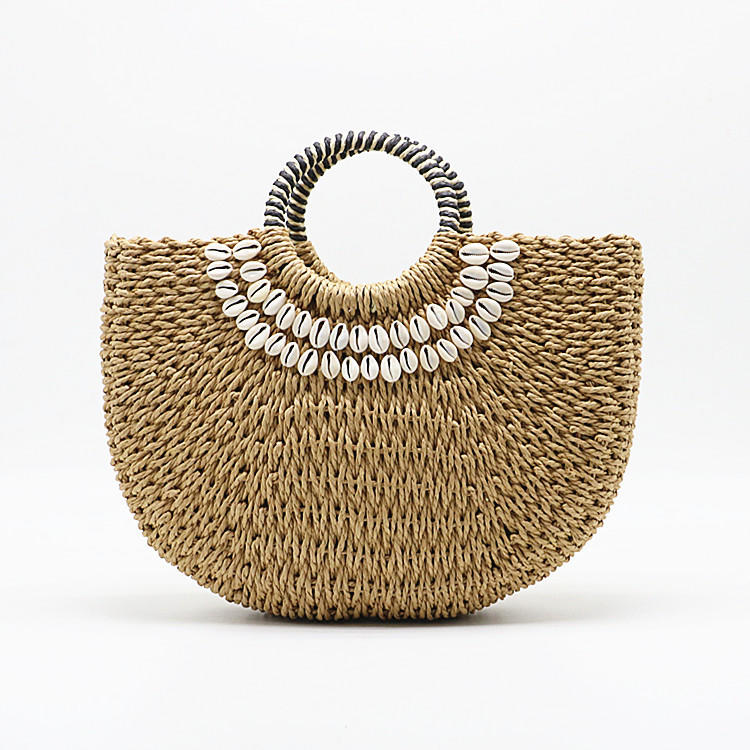 RKY0621 New shell moon rattan bucket bag wholesale woven straw beach tote hand bag straw hand made shell