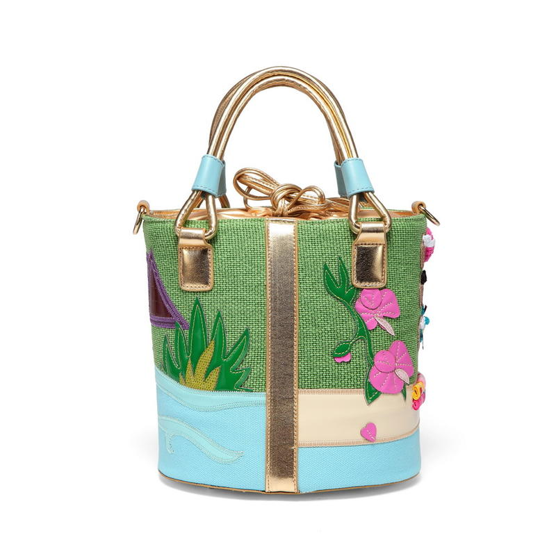 RKY0742 Angedanlia stitching PU leather custom cartoon embroidery canvas shoulder tote bucket bag