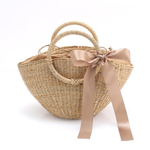 RKY0202 Fresh brass woven bag handmade rattan straw bag beach handbag