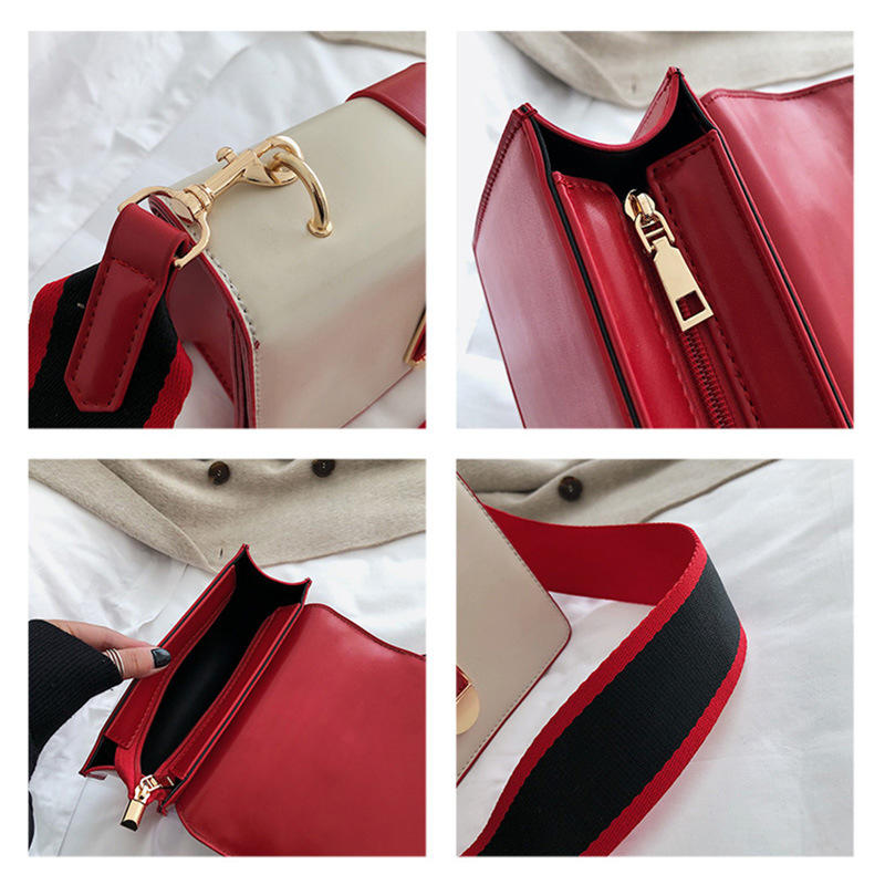RKY0068 Korean fashion casual hit color wide shoulder strap shoulder slung small square bag