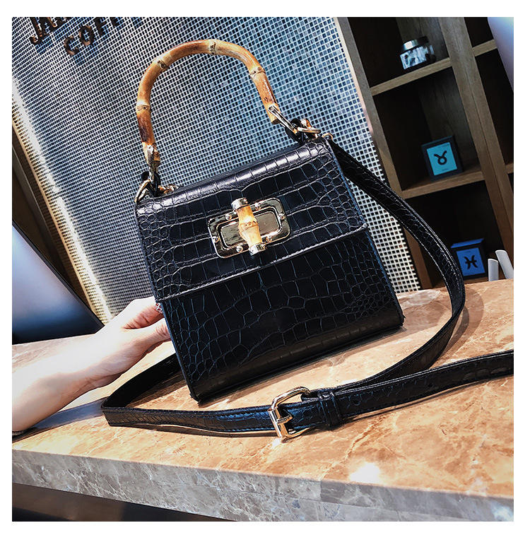 RKY0669 Crocodile pattern trend leather handbag for woman new summer fashion crossbody bag strap bamboo section shape shoulder bag