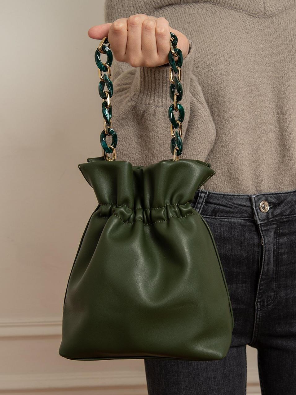 RKY0147 Customized logo summer design crossbody bag women vintage leather bucket handbags with acrylic olive chain