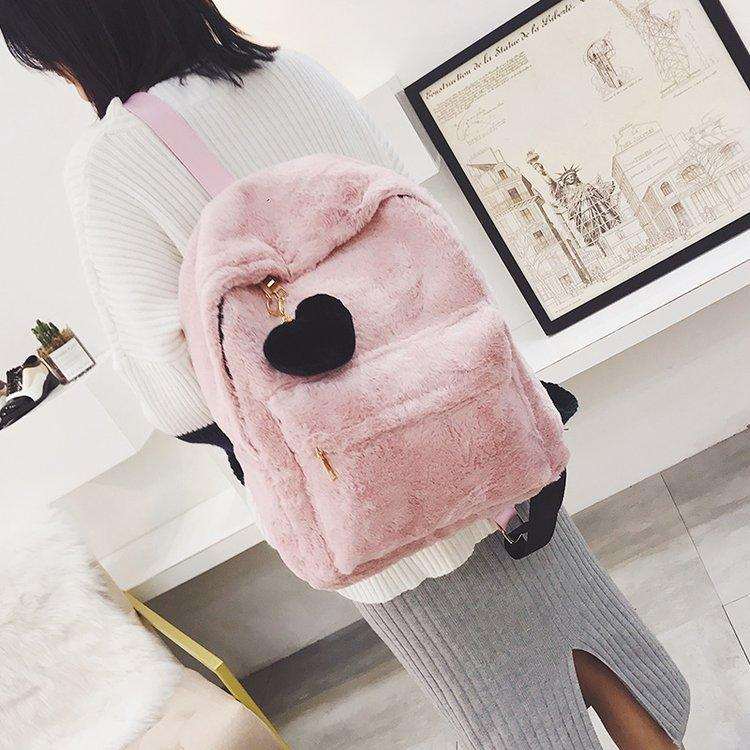 RKY0945 Sweet and cute Korean fashion PU leather small fresh multi-purpose backpack girl new fur soft girls school backpack trend