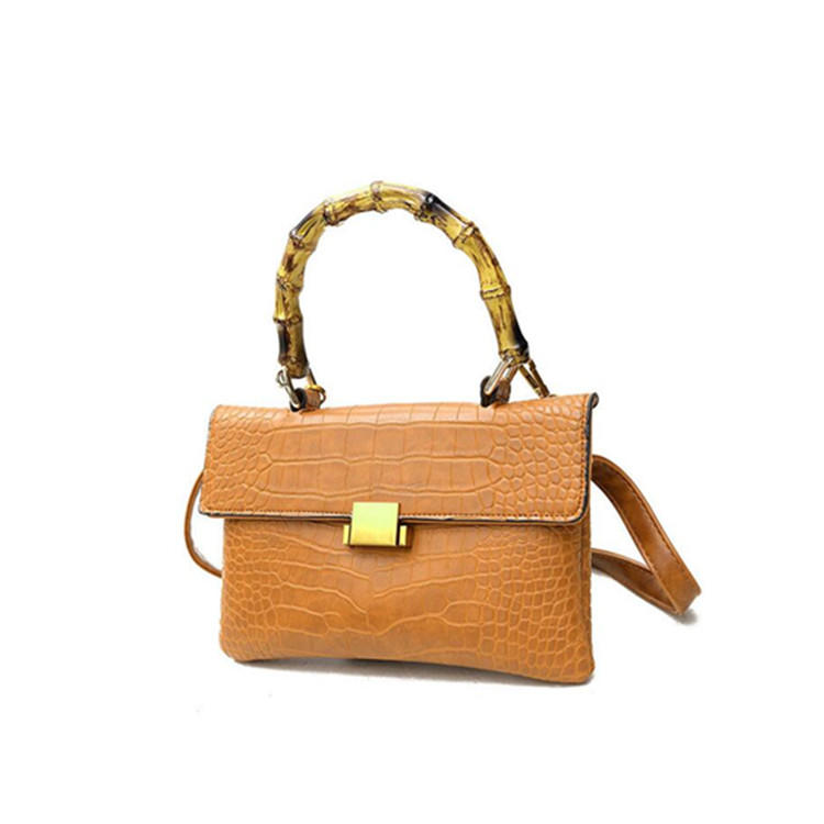 RKY0685 fashion PU handbag with bamboo handle