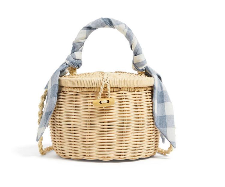 2019 New jar bag female bag thin scarf decorative wicker preparation mini basket bag, beach towel bag