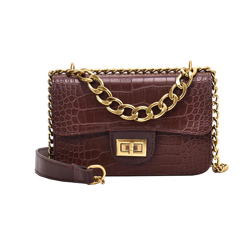 crocodile pu leather Box bag with metal chain sling shoulder bag oem handbags for women