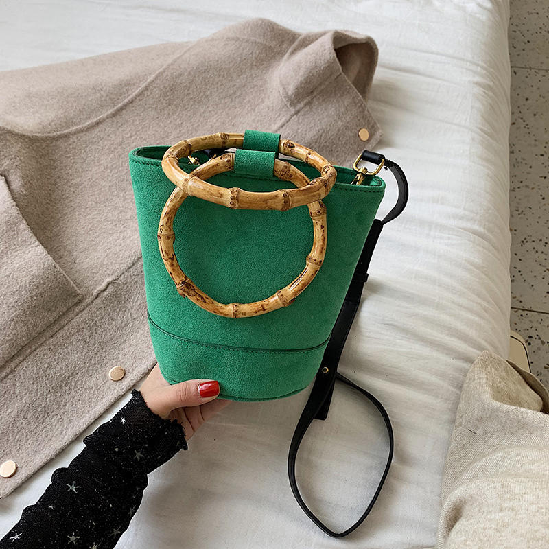 Textured retro frosted bucket bag women's crossbody shoulder bag Europe style Bamboo wrist handbag