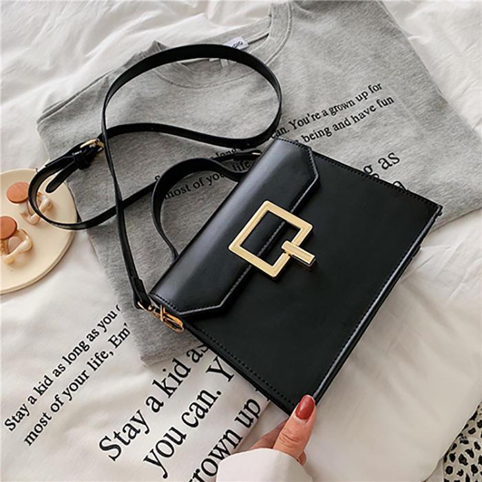 Fashion bag pure color rectangle shape stylish versatile cross body woman pu bag