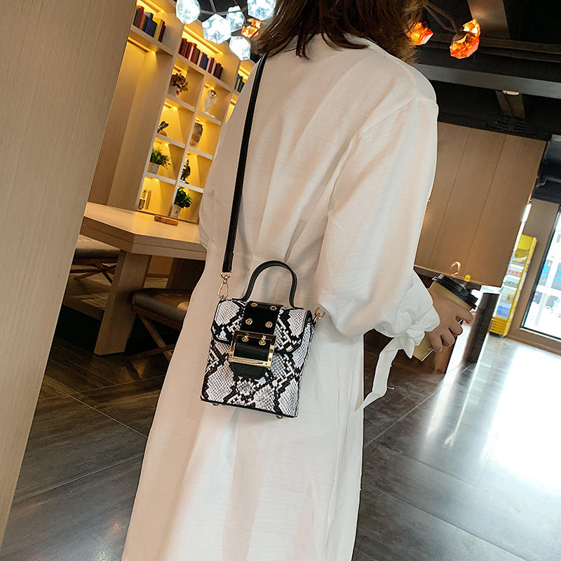 Thailand Hot Mini Snake Pattern PU Leather Cross Body Shoulder Tote Bag