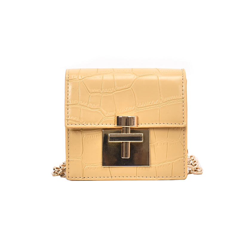 Casual daily vintage alligator skin pattern women leather bag with padlock