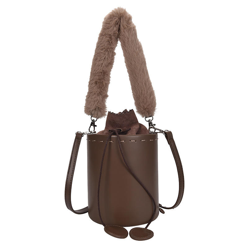 New design bucket bag casual style plush tote handle single shoulder Cross body handbag