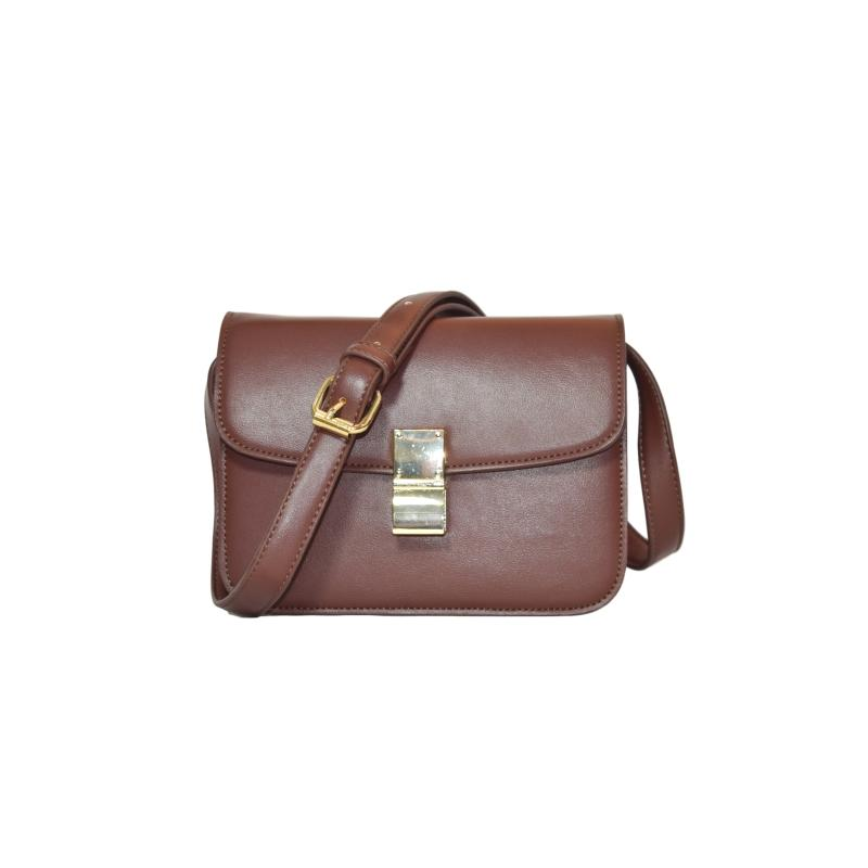 Customized bag Pure color three pockets envelope style cross body woman pu bag