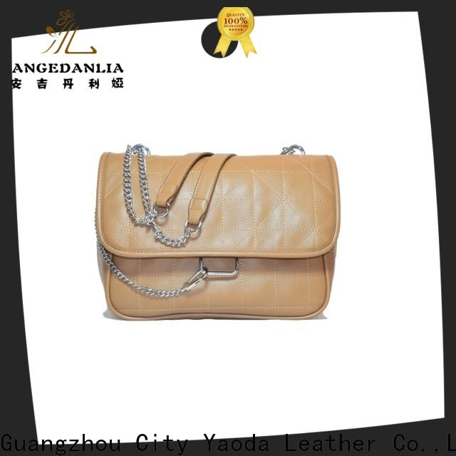 ANGEDANLIA simple black and brown leather bag manufacturer for travel