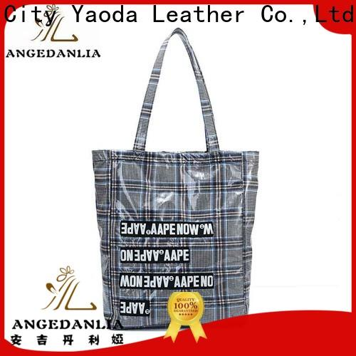 customized coated canvas tote bag pu with zipper for lady