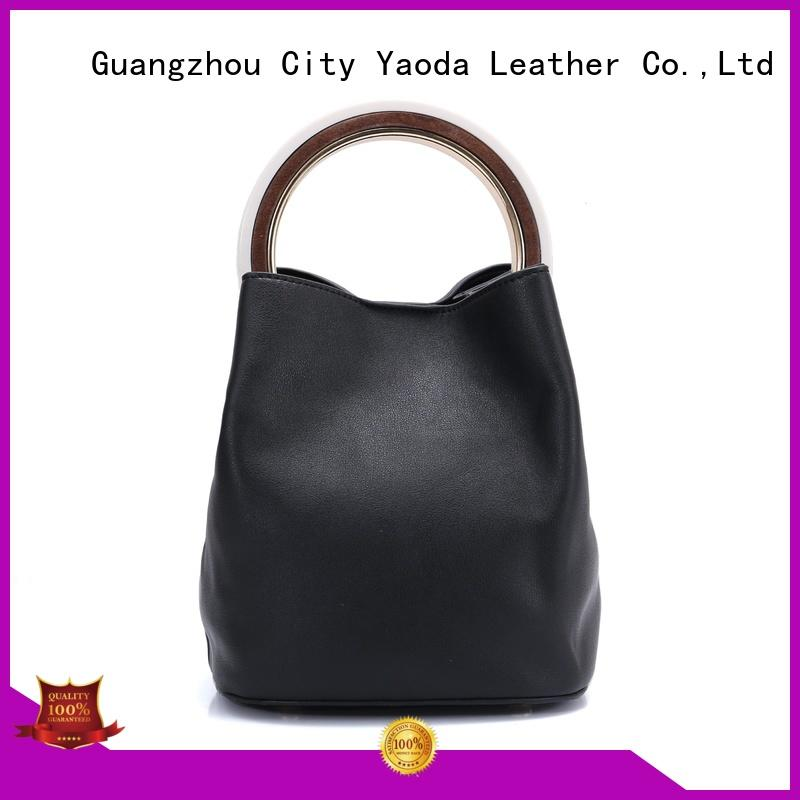 ANGEDANLIA fashion black leather tote online for travel