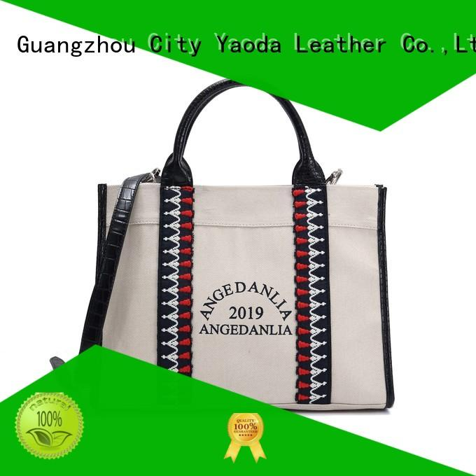 ANGEDANLIA unique canvas and leather tote with zipper for daily life