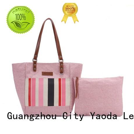popular canvas and leather tote designer with zipper for travel