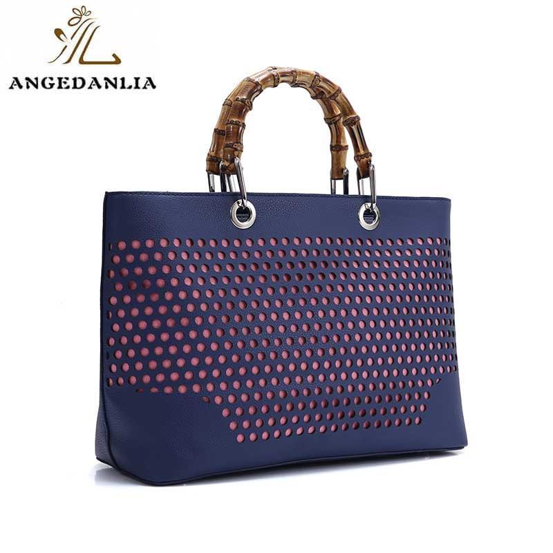 Women ladies fashion pu tote bag with bamboo handles-1