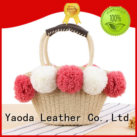 customized straw tote leather handles brass manufacturer for beach
