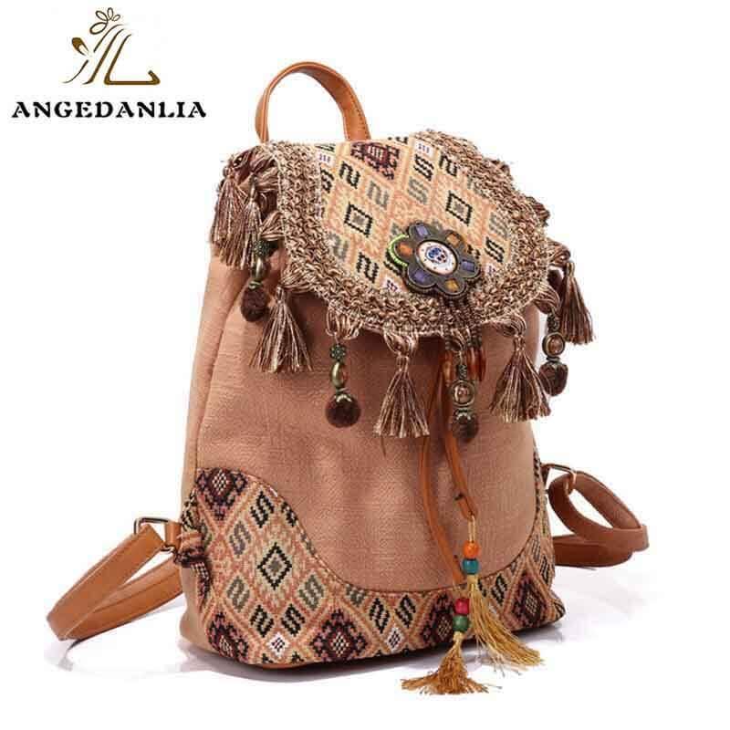 Bohemian Backpack Linen Bags Wholesale Vintage Style Shoulder Bag For Travel-1