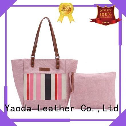 ANGEDANLIA casual canvas and leather tote bag with zipper for lady